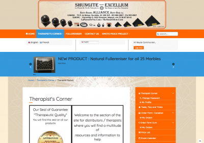 Anti-Age Alliance : Therapists' Corner - Registered user section for retailers. This the home page for the user section.